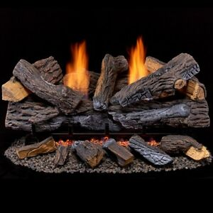 Duluth Forge Ventless Dual Fuel Gas Log Set - 30 in. Stacked Red Oak 33,000 BTU