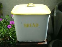 Vintage 1950's Yellow & White Tala Bread Bin