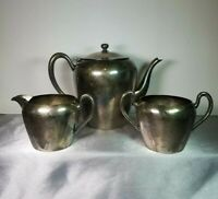 1900's Antique Vintage GOTHAM Silver on Copper Teapot Creamer Sugar Cup Set