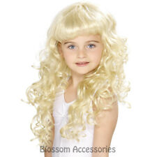 W406 Children's Curly Blonde Girls Princess Wig Fancy Dress Costume Accessory