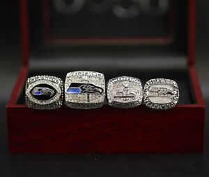 4 Pcs Seattle Seahawks Ring Seahawks Super Bowl Championship Ring with Box