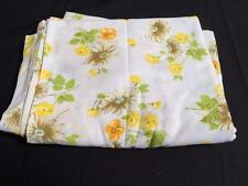 vintage 1970s flat sheet Pequot double white multi colored floral daisy