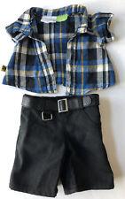 Striped Plaid Shirt Black Jeans shorts Build a Bear Clothing 2 Piece Set