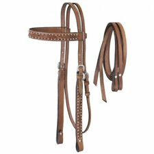 Tough-1 Dark Oil Braden Collection Headstall with Reins Horse Tack Equine