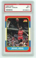 1986 Michael Jordan Fleer #57 Rookie RC PSA NM-MT 7 regrade 7.5 8 DEAD CENTER 📈