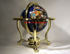 "10"" Tall Blue Lapis Ocean Table Top Gemstone World Globe with Gold Tripod"