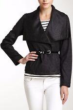 NWT $150 Kenneth Cole New York Big Collar Vegan Suede Jacket Black Polka Dot L
