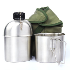 Latinaric 1QT Portable Water Bottle Stainless Steel Military Canteen with 0.5QT