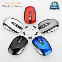 2.4GHz Wireless Mice Cordless Optical Scroll Computer Mouse Foldable USB Dongle