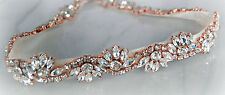 ROUGE Rose Gold Rhinestone Flower Diamante Bridal Sash Wedding Dress Belt