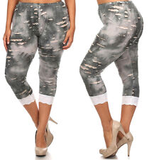 New Women's Shredded Gray Tie Dye Stretchy Plus Size Cropped Capri Leggings