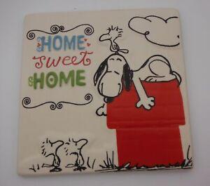 "Peanuts Snoopy Woodstock tile Plaque ""Home Sweet Home"" Hallmark"