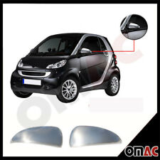Fits Smart ForTwo 2008-2015 Stainless Brushed Chrome Side Mirror Cover Cap Set