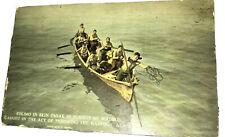 Eskimo throwing a harpoon at walrus in Alaska 1920