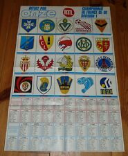 POSTER FOOTBALL 1985-1986 ONZE CALENDRIERS D1 D2 (GROUPE B) ECUSSONS CLUBS