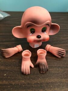 Crying Monkey Doll Head Hands Feet vintage crafts Clown Circus Mangelsen's 4""