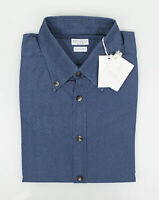 NWT BRUNELLO CUCINELLI Blue Cotton Short Sleeve Casual Shirt Size 52/42/L $575