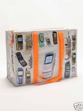 """Shoulder Tote 'Cell Phones' NEW Recycled Materials Blue Q 11""""h x 15""""w x 6.2"""