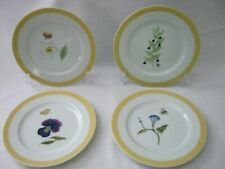 "Set of 4 Williams-Sonoma SUMMER STUDIES Flowers Insects 7-3/4"" Multi-Use Plates"