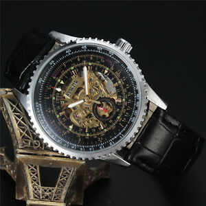Sewor 40mm Fashion Mens Silver Skeleton Mechanical Automatic WristWatch Fashion