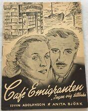 Ingen väg tillbaka Edvin Adolphson Anita Björk Vintage 1948 Danish Movie Program