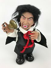 """10"""" Animated Vampire Halloween Prop - Bell Ringing, Moving, Light-Up Eyes, Sound"""