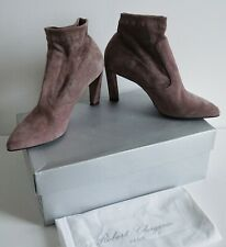 $775 ROBERT CLERGERIE Sandalwood SUEDE Stretch Ankle Boots Booties 38 US-7.5