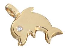 Anhänger - entzückender Delphin Gold 585 mit Diamant - Goldanhänger - Brillant