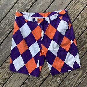 "Mens Loudmouth Golf Shorts size 42 Orange Purple ""Argyle"""