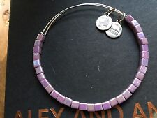 RARE ALEX and ANI Vintage LILAC LUSTER Square Beaded Singles BANGLE BRACELET