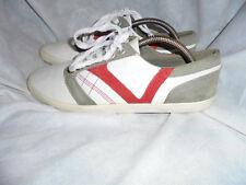 Zara Blanco/Gris/Rojo Para Hombre De Cuero Con Cordones Zapatillas Size UK 8 EU 42 en muy buena condición