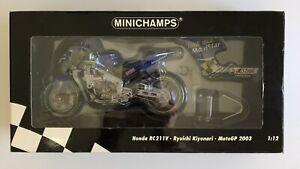 RARE MINICHAMPS 1:12 Honda RC211V Ryuichi Kiyonari MotoGP 2003 Motorcycle Model