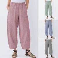 Mode Femme Pantalon Décontracté lâche Loose Poche Bande Taille Jambe Large Plus