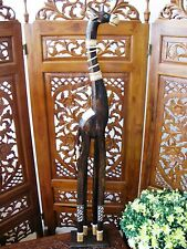 WOODEN GIRAFFE ORNAMENT 120CM - HAND CARVED AND HAND PAINTED