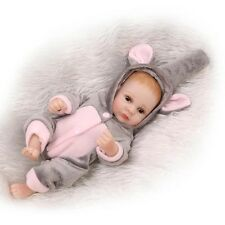 "US - 11"" Baby Girl Doll Vinyl Lifelike Reborn Silicone Full Body Handmade Dolls"