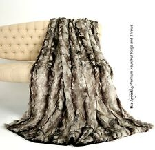 Premium Faux Fur Throw Blanket Silver Gray Exotic Rabbit Mink Cuddle Fur Lining