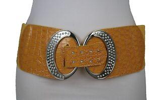 Women Silver Metal Buckle Fashion Belt Yellow Stretch Waistband Hip Waist S M