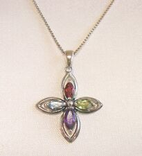 "NWT MARQUISE GENUINE GEMSTONE CROSS STERLING SILVER W/18"" CHAIN~FREE US SHIP"