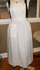CIVIL WAR DRESS VICTORIAN COLONIAL LADY'S WHITE COTTON PINNER~BIB APRON-PLUS SZ