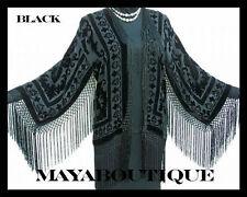 BLACK SILK JACKET BLAZER TOP KIMONO DUSTER BOLERO BEAUTIFUL!!