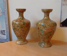 2 MATCHING VINTAGE/ANTIQUE TROY VASES-FLORAL PATTERN-HEIGHT 22.9cm