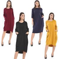Women's Ladies Italian Legan Look Turn Up Sleeve Baggy Pocket Dress 8-26