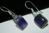 New Sterling Silver Natural Real Amethyst Gem Stone Rectangular Drop EARRINGS