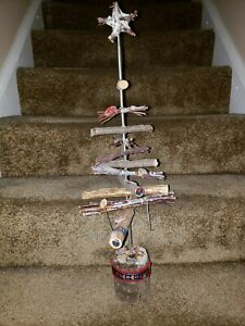 Artificial Christmas Tree Primitive Handmade Wood 24 inches 0002 240