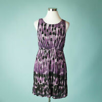 J Jill Small Petite Purple Dress Sleeveless Printed Elastic Waist Career Work