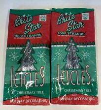 "2 Packs of New Silver Christmas Tree Icicles 1000 Strands Each 18"" Tinsel 2000"