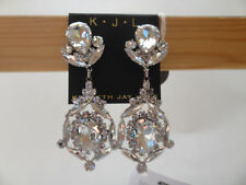 Kenneth Jay Lane PEAR, OVAL, MARQUIS, ROUND Crystal Clip Earrings, Silver Tone