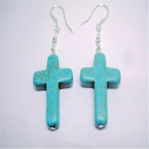 Simple Style Turquoise Bead Cross Silver Dangle Earring Popular Charming