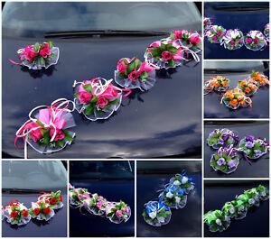 6 St. Autoschmuck Blumen Blüten Girlanden Hochzeit Autodeko Kunstblume NEU LA50