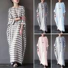 ZANZEA Plus Women's Crew Neck Oversized Long Shirt Dress Kaftan Long Maxi Dress